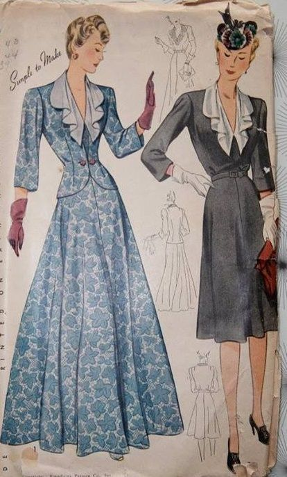 1940s Vintage Sewing Pattern Simplicity 4269 Womens Jacket and Dress ...