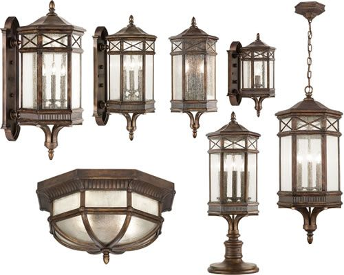 Fine art lamps holland park outdoor collection traditional take time to select exterior lighting that really enhances your home from the time you pull up to your home your exterior lighting sets the tone aloadofball Choice Image