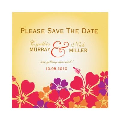 Luau save the date card personalized invitations by weddingsnengagements