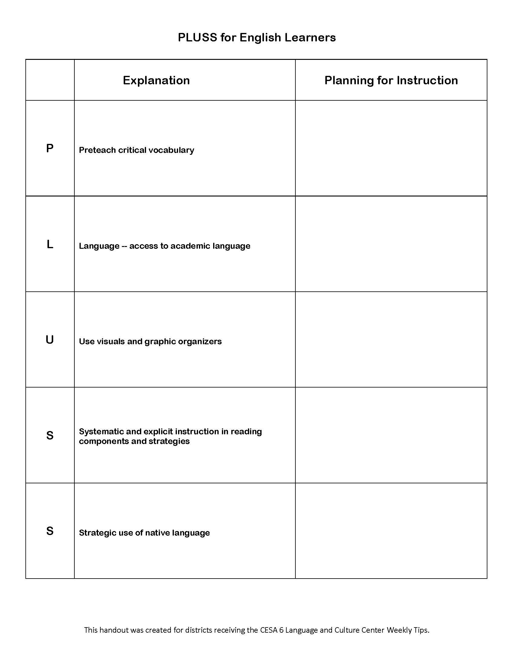 Pluss Planning Sheet Image Only