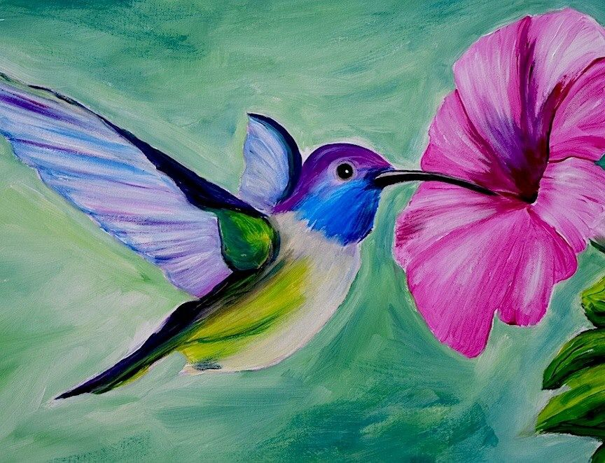 Hummingbird, by Paint Monkey | Hummingbird painting acrylic