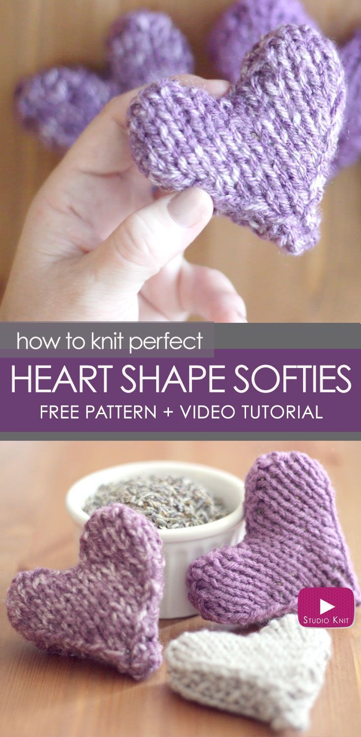 Video Tutorial How To Knit Heart Shape Softies Free Pattern With