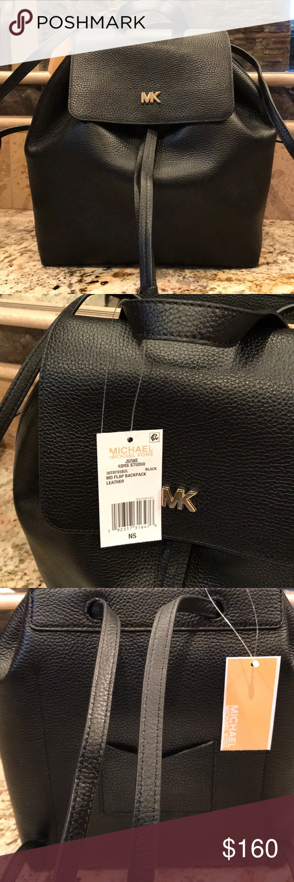 976258036500 Michael Kors Medium Junie Flap Backpack Brand new with tags. Black pebbled  leather with gold logo. The logo could pass for gold or silver.