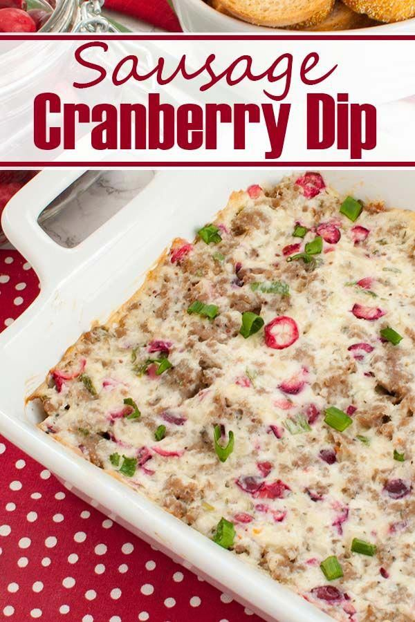 Easy holiday appetizer! This Sausage Cranberry Cream Cheese Dip is cheesy, colorful and great for a