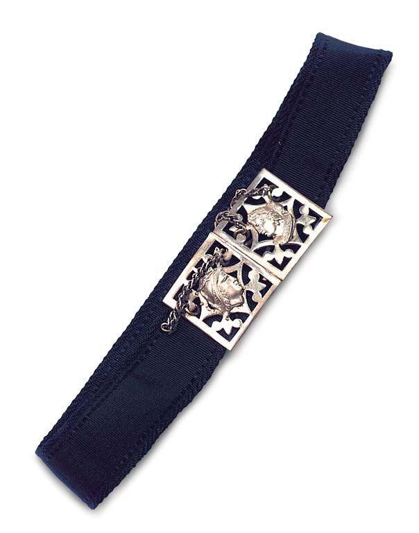 Huret doll's black silk belt with silver buckles.