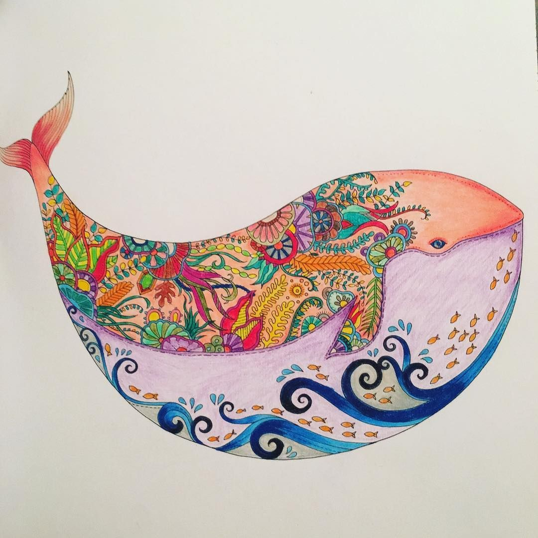 Silver Galvan On Instagram Just Finished This Whale Mycreativeescape Joha Mandala Coloring Books Johanna Basford Coloring Book Johanna Basford Coloring