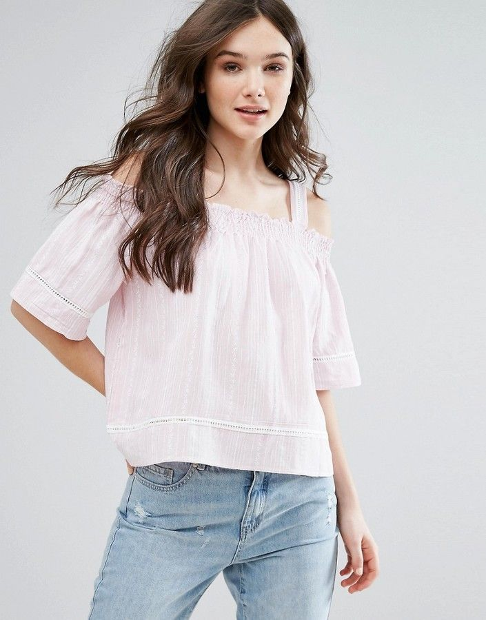 d9e05cd560b QED London Stripe Cold Shoulder Top | Products | Tops, Tunic tank ...