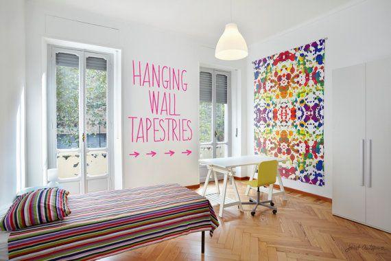 Rainbow Tears Hanging Wall Tapestry by JanetAnteparaDesigns on Etsy #Tapestry #WallHanging #ApartmentWallArt #ApartmentWallDecor #HangingWallTapestry, #HomeDecor, #DormDecor, #Remodeling #InteriorDesign #NurseryDecor #ModernArt, #ArtsyHomeDecor, #HeadboardTapestry, #AbstractArt #RainbowHomeDecor #ColorfulTapestry #RainbowTapestry #paintdrops