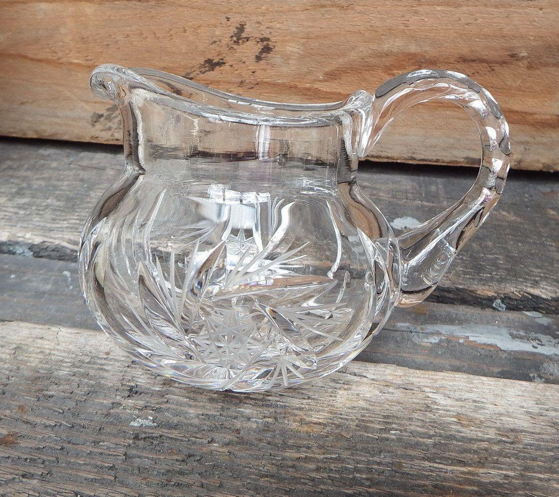 Cut Glass Creamer, Mini Syrup Pitcher, Small Clear Glass Pitcher, Beautifulu2026