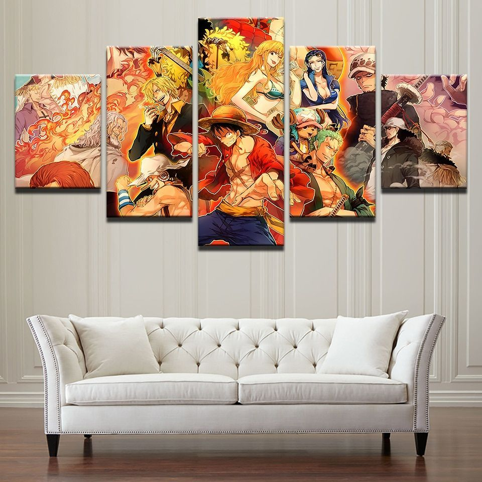 5 Pieces One Piece Anime Characters Painting Canvas Canvas Art Wall Decor Customized Canvas Art Wall Art Canvas Painting
