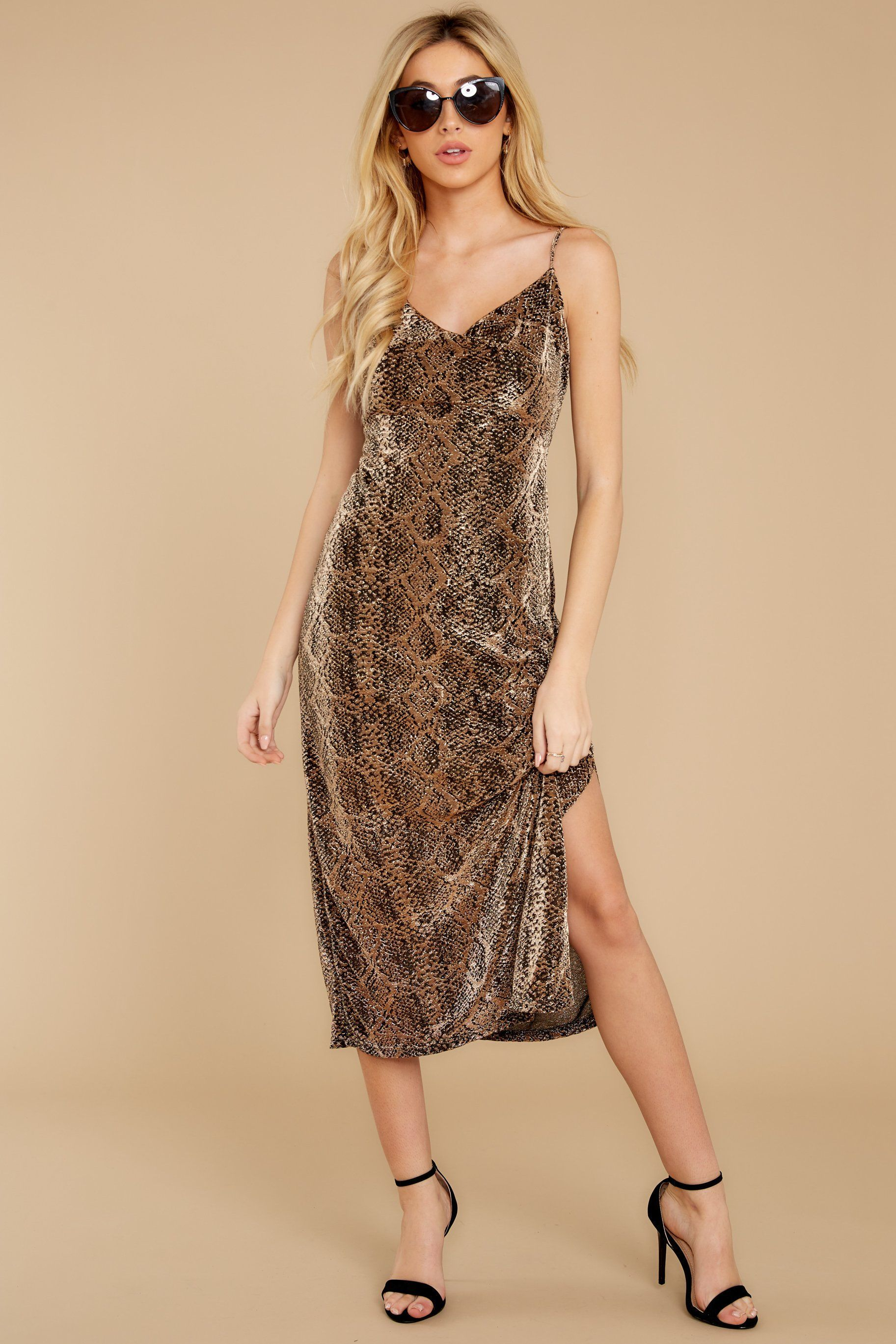 dangerous love gold snake print midi dress | dresses, red