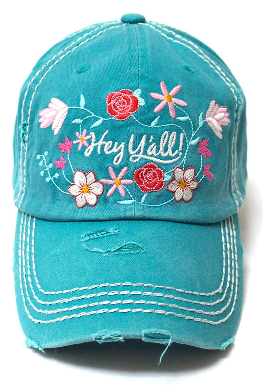 9184f3d16 ... Caps 'N Vintage. Women's Summer Ballcap Hey Y'all! Wildflower Embroidery  Hat, Turquoise