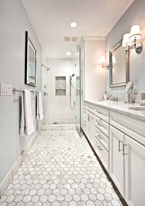 53 Most Fabulous Traditional Style Bathroom Designs Ever: 21 Amazing Narrow Bathroom Ideas
