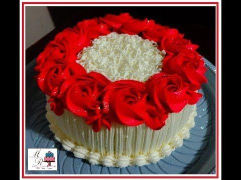 Bolo De Rosas Vermelhas Com Imagens Bolo De Casamento Branco
