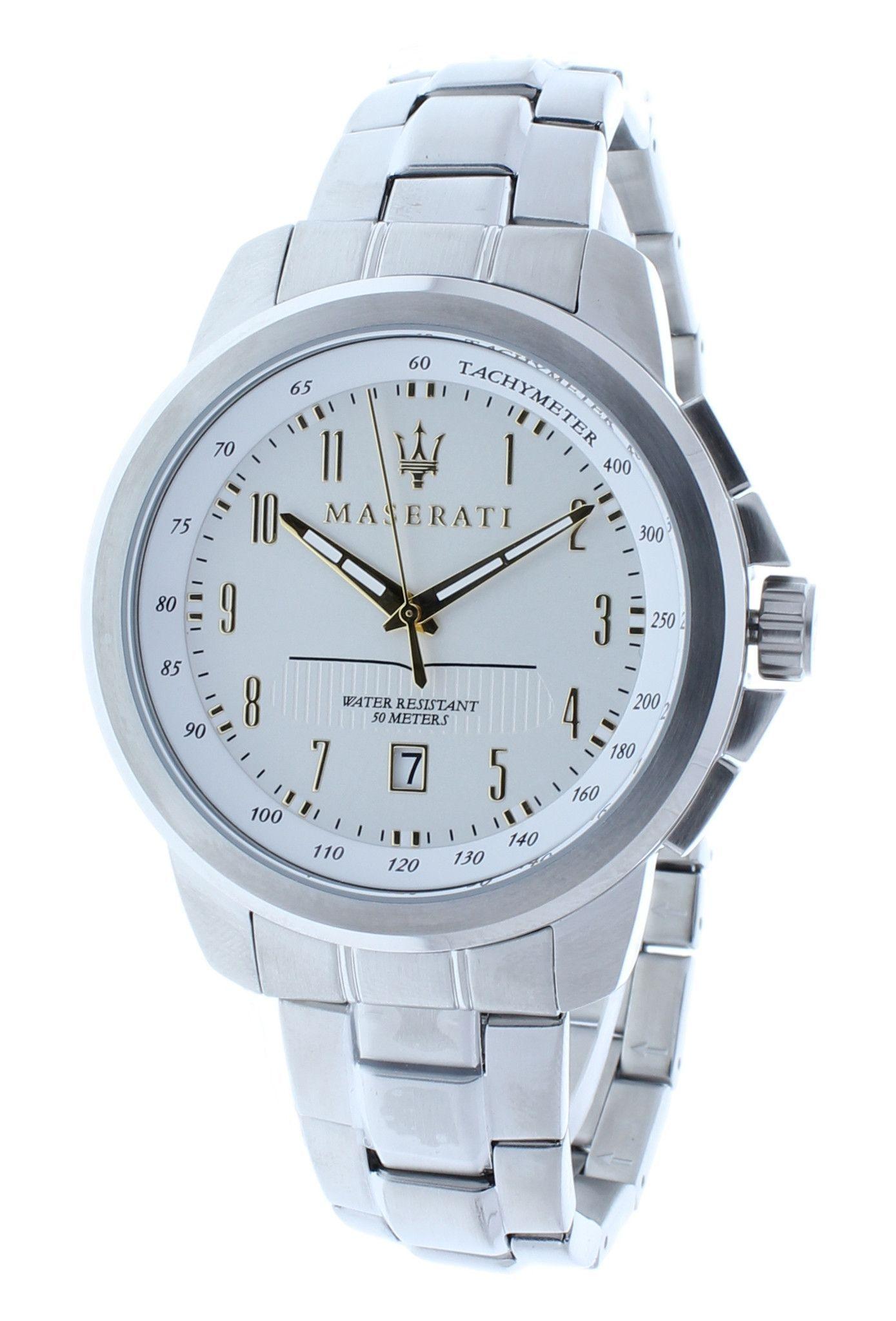Maserati R8853121001 Men's Quartz White Dial Watch Stainless Steel Case Date
