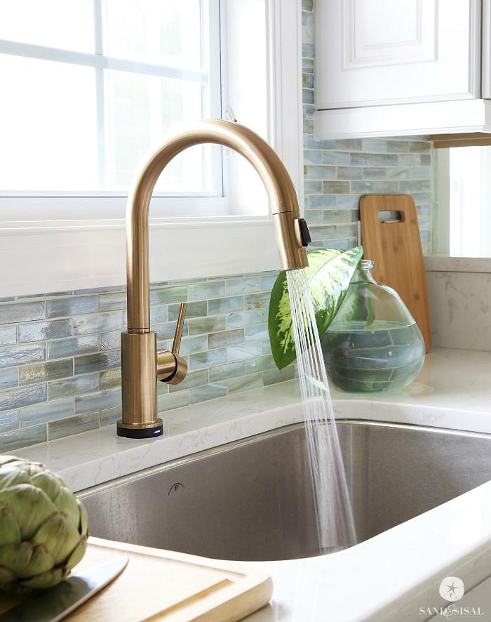 Delta Trinsic Faucet Champagne Bronze L Coastal Kitchen Designs Www Dreambuildersobx