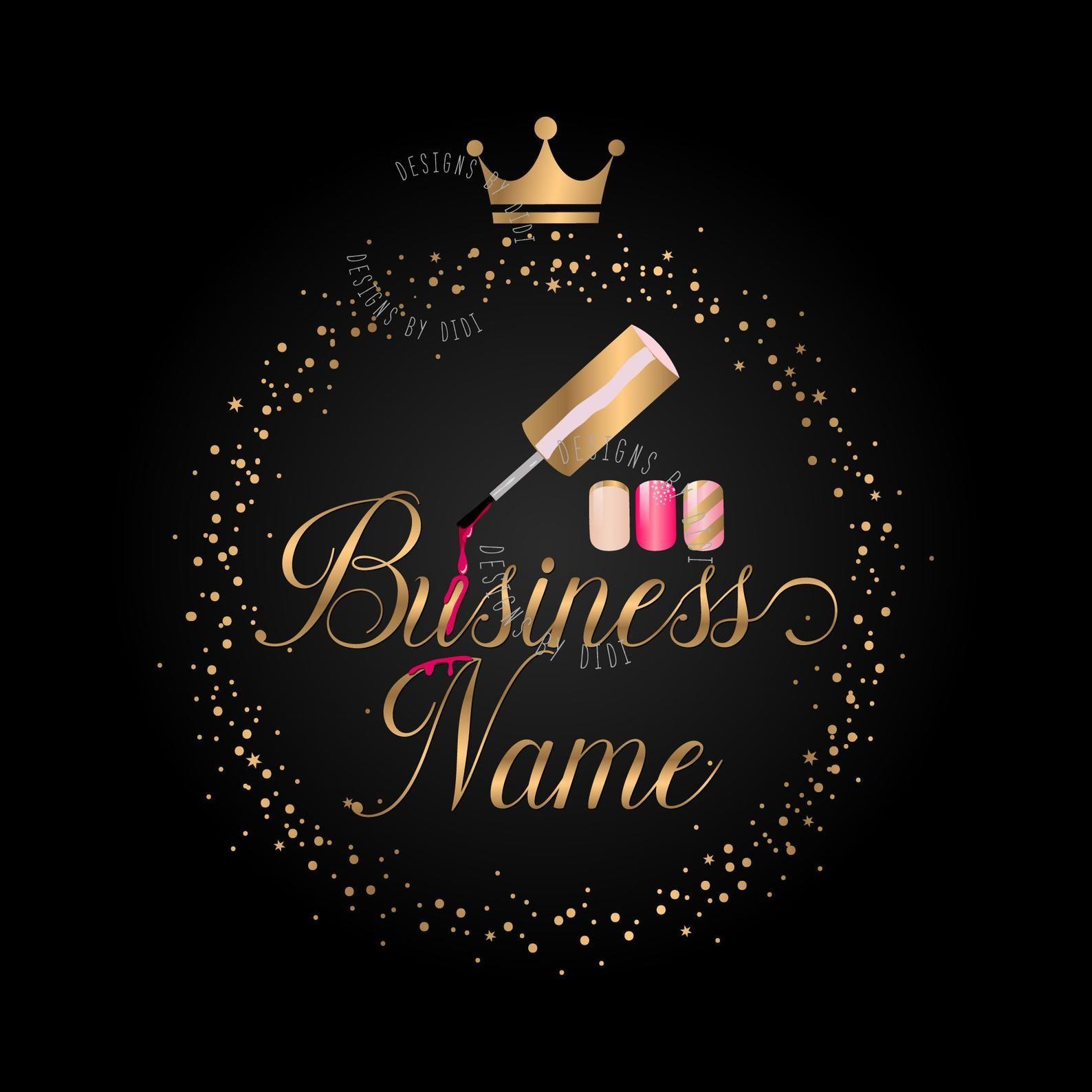 Premade beauty nails logo polish nails logo pink gold