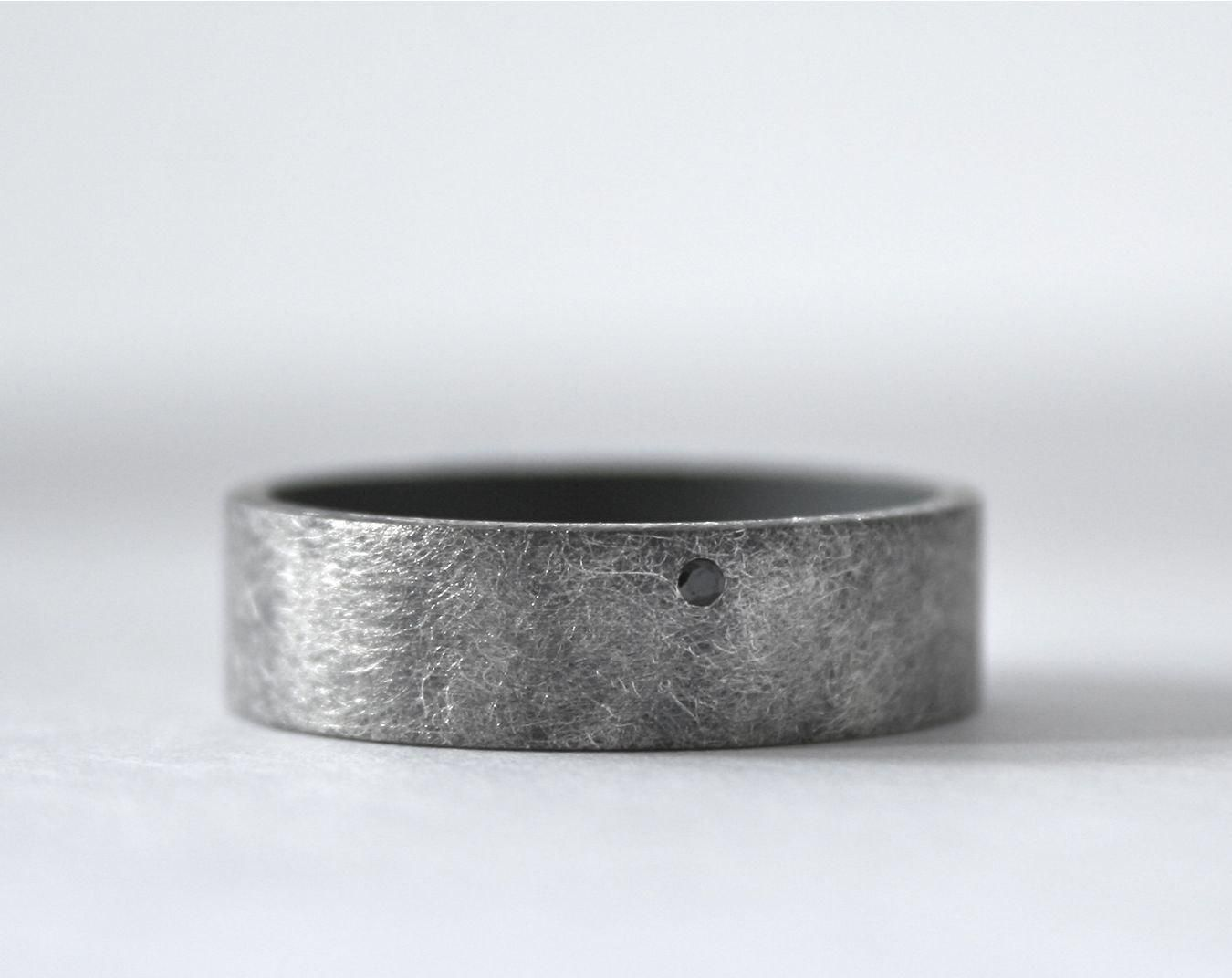 Black Diamond Ring Mens Wedding Band Oxidized Sterling Silver Rough