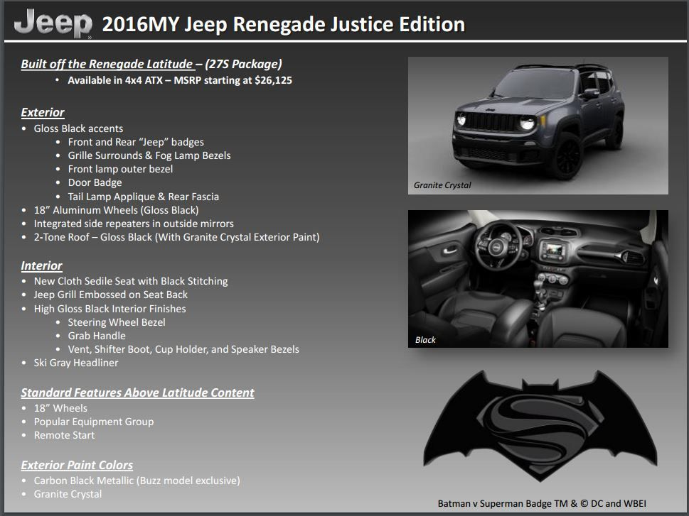 jeep renegade 2016 batman vs superman special edition jeeps autos. Black Bedroom Furniture Sets. Home Design Ideas
