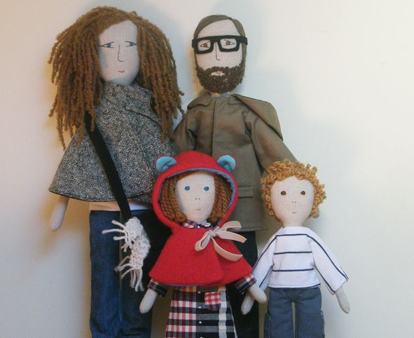 The family - love the coats.  Fabric Dolls.