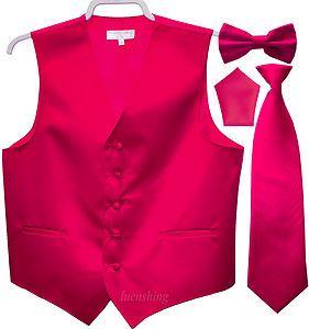 New Men/'s hot pink formal vest Tuxedo Waistcoat/_necktie /& bowtie set wedding