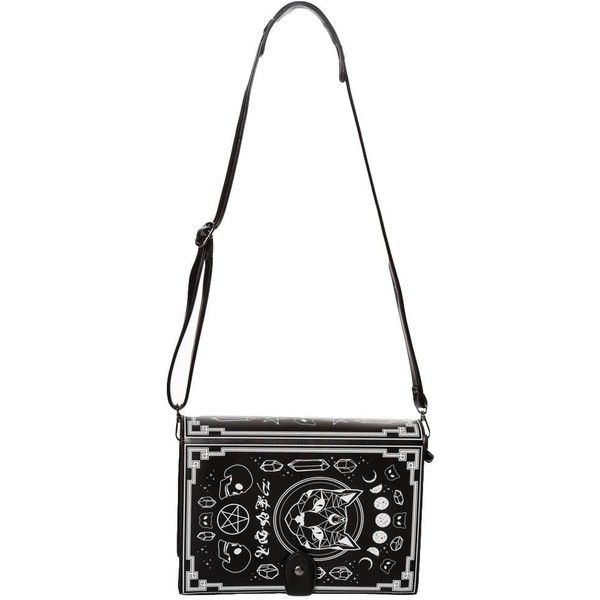 Banned Arel Spellbinder Book Black Cat Gothic Crossbody Bag Purse 72 Liked On Polyvore Featuring Bags Handbags Shoulder Cross Body Handbag