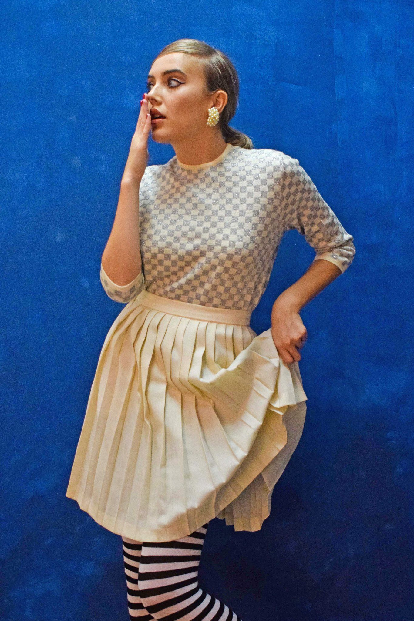 da5a8c01c Vintage Twiggy knit top   French Girls style   Pleated Skirt, French ...