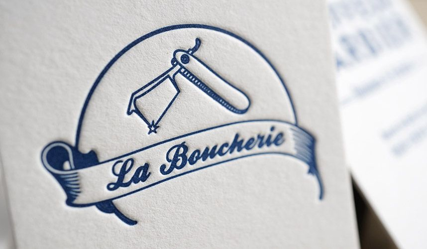 Carte De Visite Letterpress 1 Couleur La Boucherie