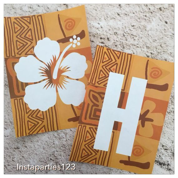 This is a digital download. Simply download, print and use. Perfect for Hawaiian, Polynesian, Tropical Moana Birthday Parties.  Includes 8 files in a zip folder. Pages include 2 banner pieces per page : 1 - HA 2 - PP 3 - YB 4 - IR 5 - TH 6 - DA 7 - Y Hibiscus Flower 8 - Hibiscus flower & Blank (affiliate link)