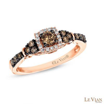 Le Vian Chocolate Diamonds® 7/8 CT. T.W. Diamond Frame Tri-Sides ...