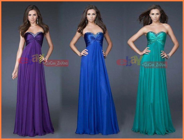 Details about Gorgeous 3 Purple/Blue/Green Bridesmaid ball gown ...