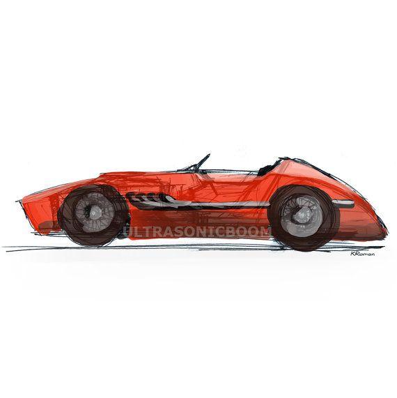 Vintage Racing Car From Color Print Of My Original Sketch