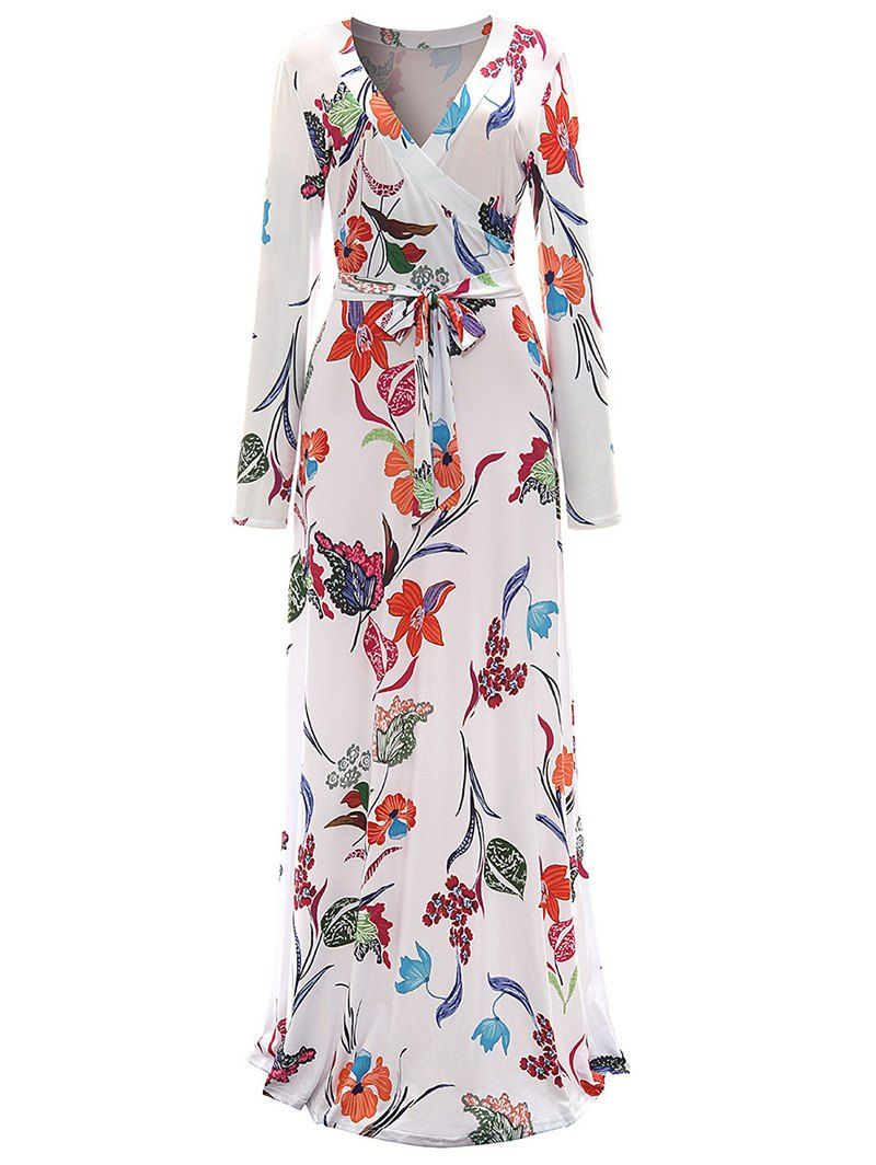 Floral surplice maxi formal dress formal floral and stylish