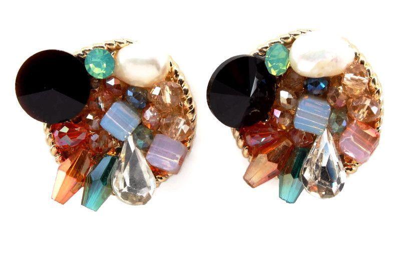 Pearl & Stones Gold Earrings