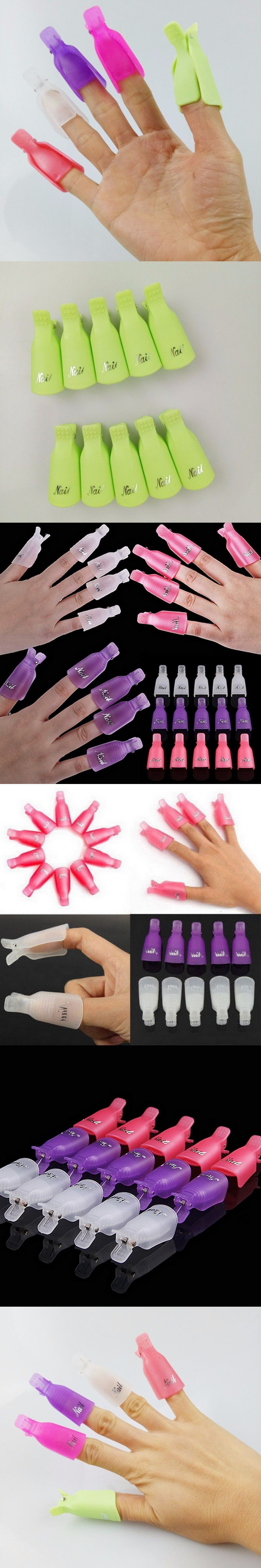10pcs/lot Wearable Acrylic Nail Art Soak Off Cap Clip UV Gel Polish ...