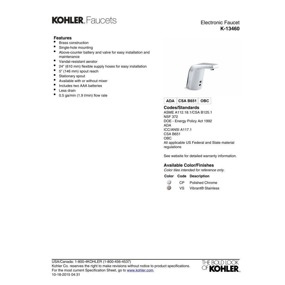 Kohler K-13460-VS Insight Vibrant Stainless Steel Electronic ...