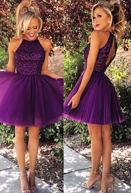 d8dd18b8b98 New Arrival Lovely Beaded Purple Royal Blue Short Homecoming Dresses Party  Gowns Cocktail Dresses Short. Short Homecoming Dress