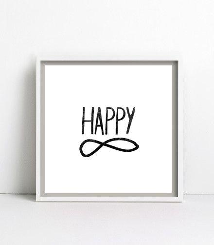 Digitaldruck - happy forever, s/w, Poster / Print 30x30cm - ein Designerstück von goodGirrrl bei DaWanda