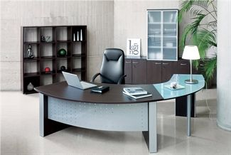 Picture Of Direction Style Curved Executive Desk Frosted Glass