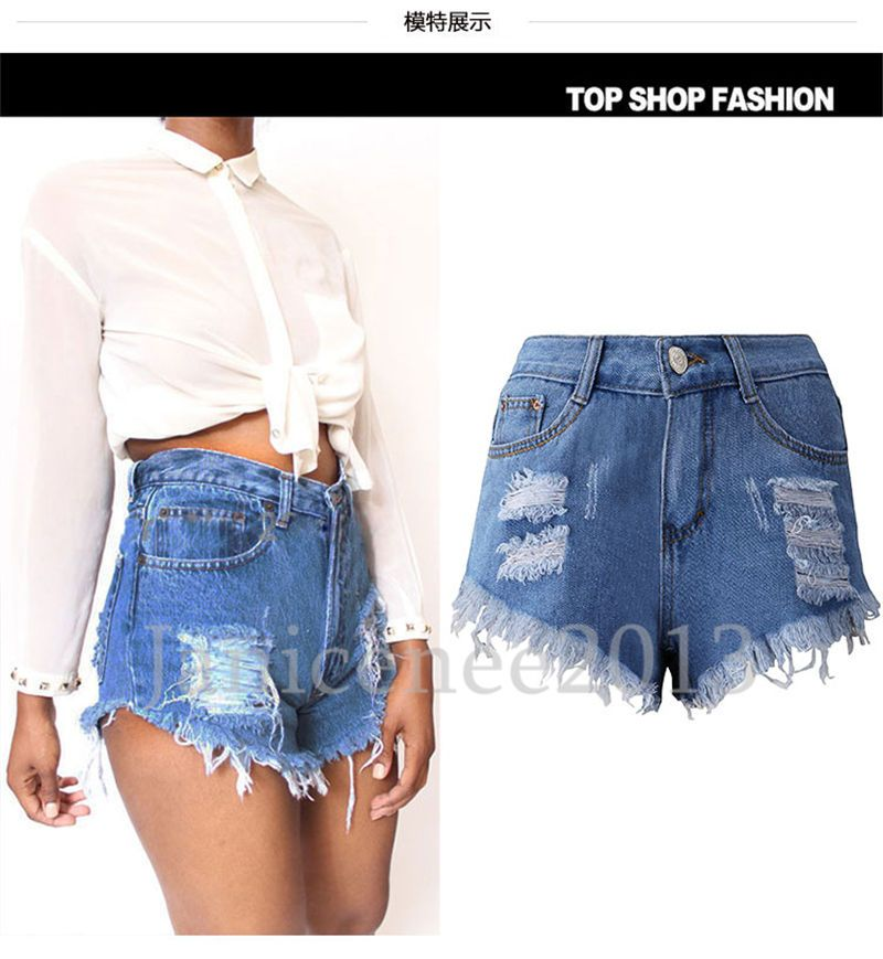 b1331cbcf3 Vintage Womens Ripped Hole Denim High Waisted Shorts Jeans Hot Pants Short  Pants