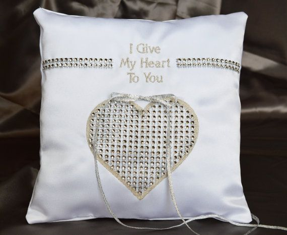 Modern Double Hearts White Satin /& Pearl Gray Linen Ring Bearer Pillow Two Hearts One Love