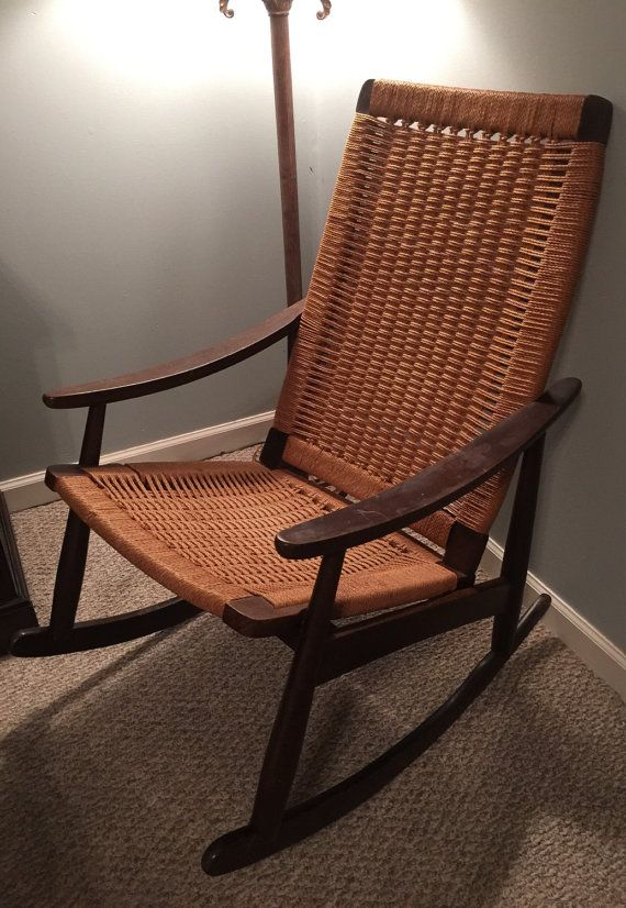 Danish Mid Century Rope Chair Hans Wegner Style Rocking Chair