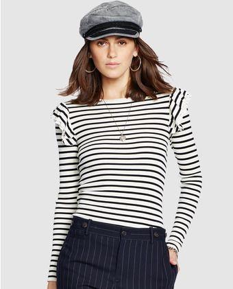 fe1961ae578 Jersey de mujer Polo Ralph Lauren con rayas y volantes en hombros