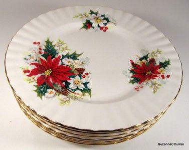 Vintage Poinsettia Dinnerware Patterns Royal Albert Christmas Poinsettia Tea Dess Christmas Dinnerware Christmas Dinnerware Sets Christmas Tableware