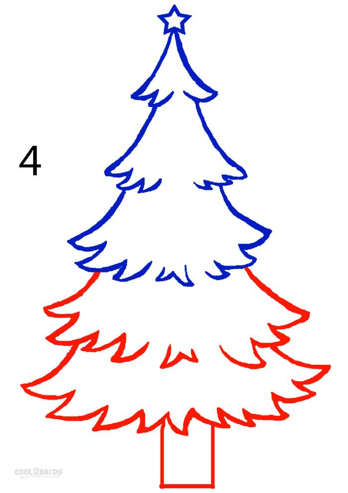 How to draw a christmas tree step 4