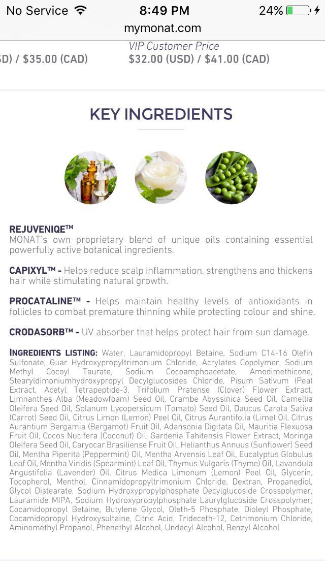 Key ingredients MONAT 2 in 1 MENS shampoo & conditioner