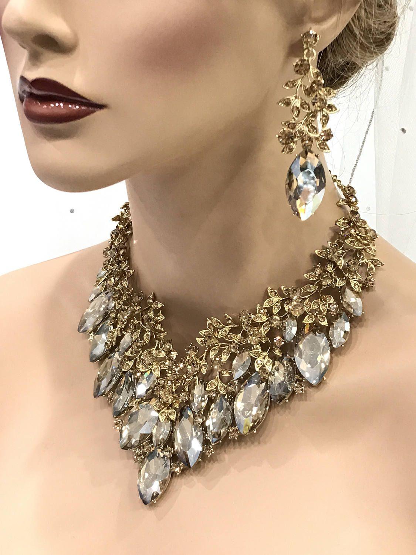 Bridal jewelry set wedding jewelry bib necklace earrings wedding