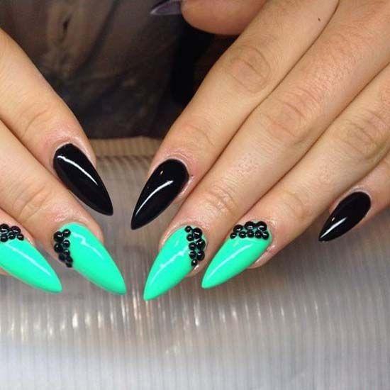 Turquoise Stiletto Nail Art: Black & Turquoise Stilettos