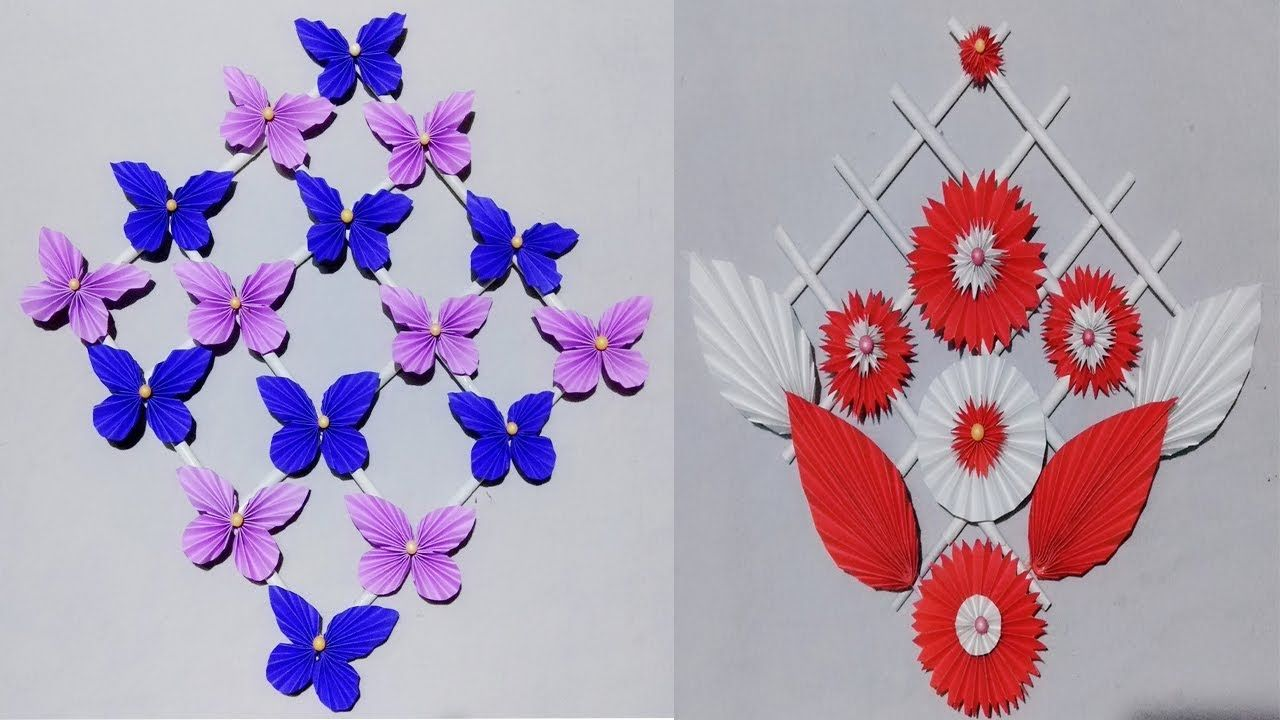 2 Diy Paper Butterfly Wall Hanging Diy Art And Craft Ideas Wall