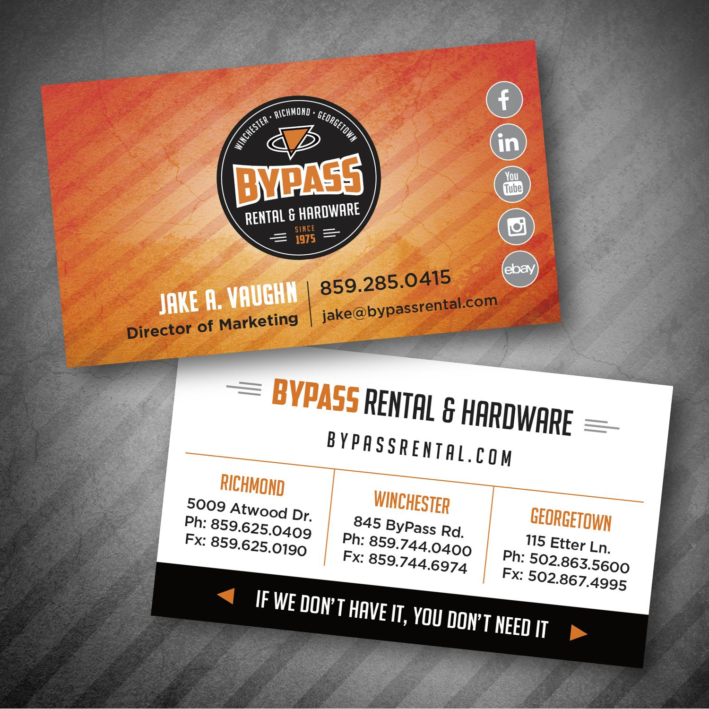Bypass rental hardware business card design card